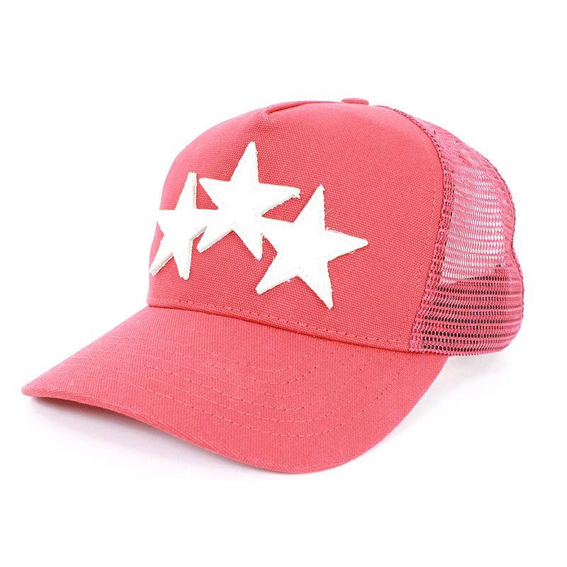 アミリ/AMIRI 【STAR TRUCKER HAT】パイソンスターパッチトラッカーメッシュキャップ(FREE/レッド×ホワイト)【SB01】【小物】【706081】【中古】bb87#rinkan*A