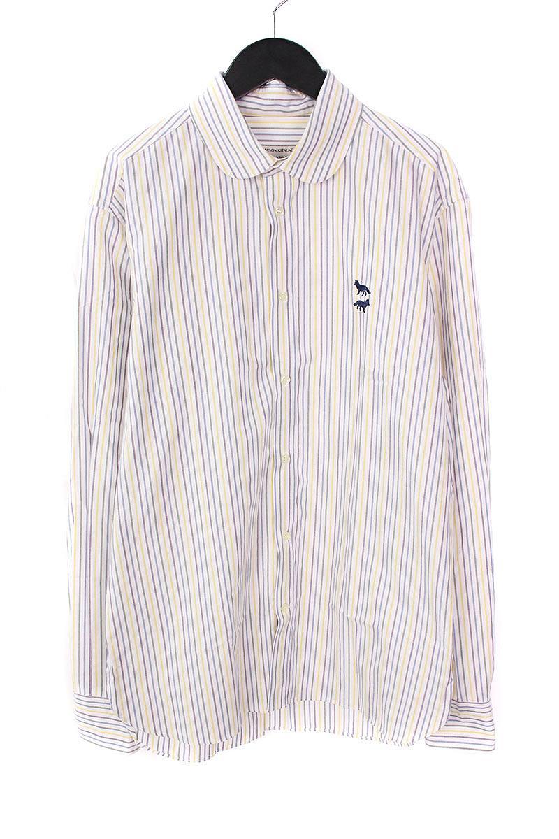 メゾンキツネ/MAISON KITSUNE マルチストライプラウンドカラーシャツ(41/ホワイト調)【BS99】【メンズ】【107081】【中古】bb14#rinkan*B