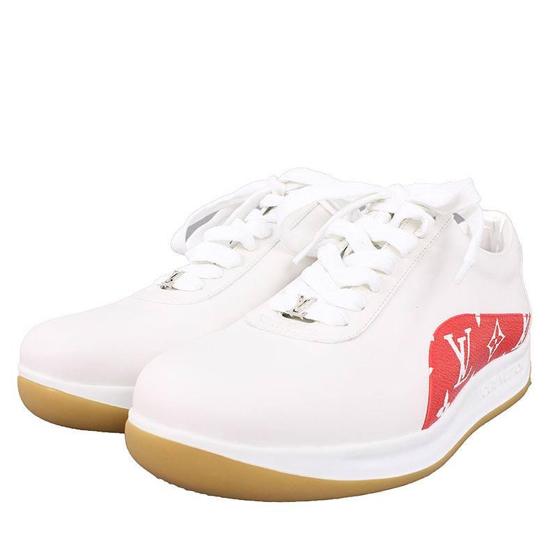 シュプリーム/SUPREME ×ルイヴィトン/LOUISVUITTON 【17AW】【LV Sport Sneaker】モノグラムラインレザースニーカー(5/ホワイト×レッド)【HJ12】【レディース】【小物】【806081】【中古】bb202#rinkan*S