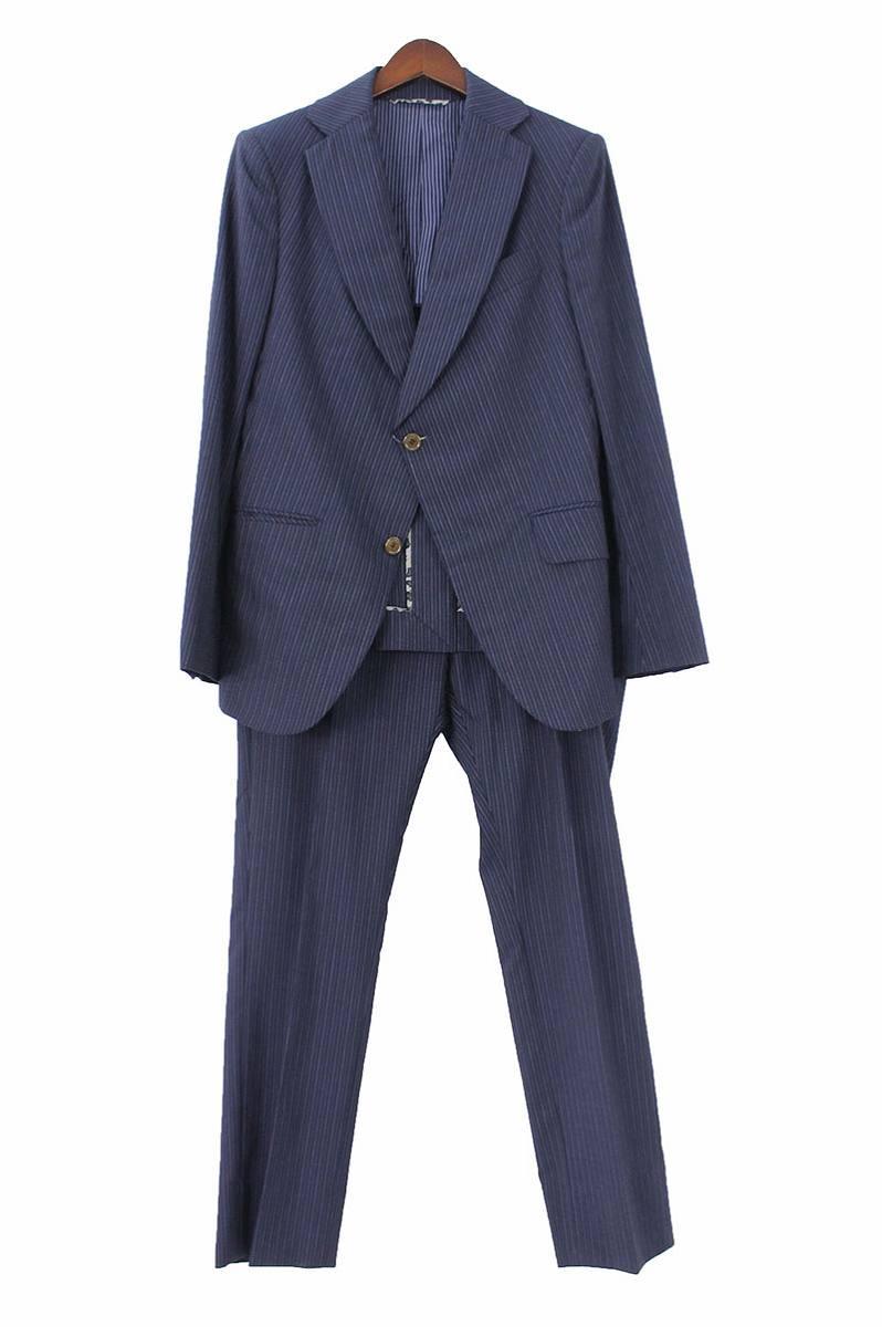 ヴィヴィアンウエストウッドマン/Vivienne Westwood MAN ストライプ2Bジャケットセットアップスーツ(46/ネイビー)【BS99】【メンズ】【516081】【中古】bb14#rinkan*B
