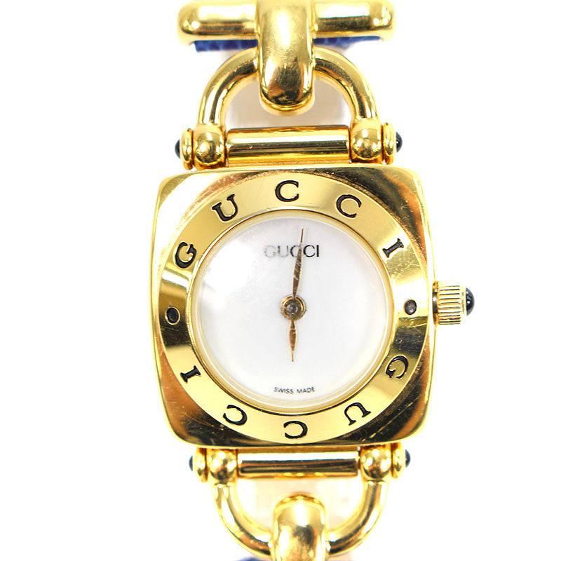 グッチ/GUCCI 【6300L】ホワイト文字盤レザーベルトヴィンテージ腕時計(ゴールド×ブルー)【SK03】【小物】【906081】【中古】bb05#rinkan*B