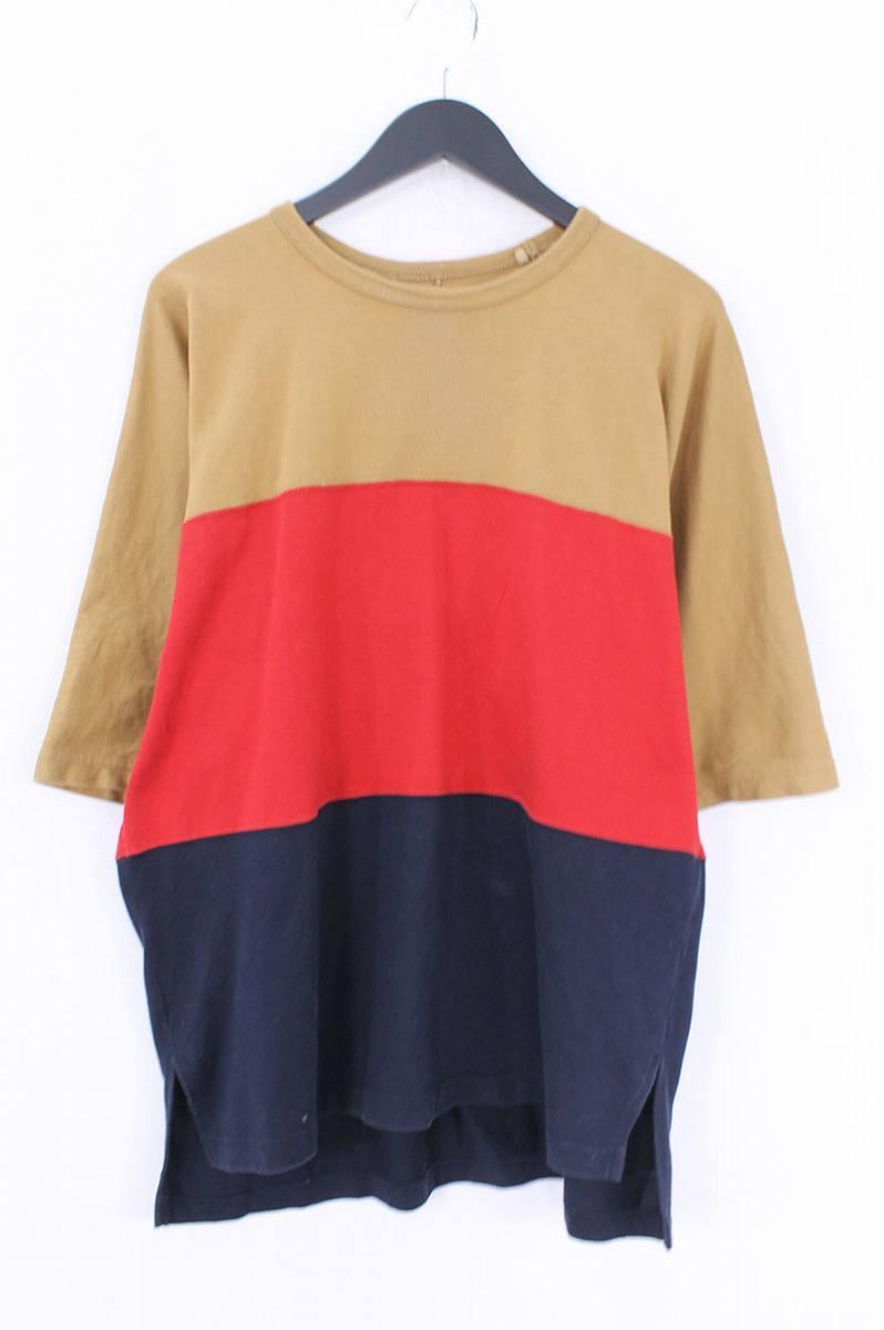 ネーム/Name 【17SS】【NMCU-17SS-006】カラー切替クルーネックTシャツ(1/ブラウン×レッド×ネイビー)【BS99】【メンズ】【107081】【中古】bb177#rinkan*B