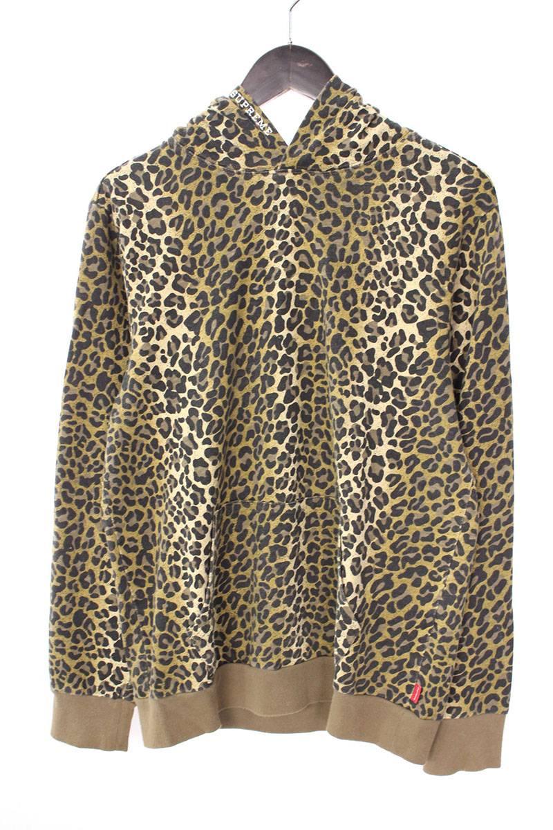 シュプリーム/SUPREME 【15SS】【Mini Harvard Hooded L/S Top Leopard】レオパードプルオーバーフーデッドパーカー(S/ブラウン調)【OM10】【メンズ】【216081】【中古】bb33#rinkan*B