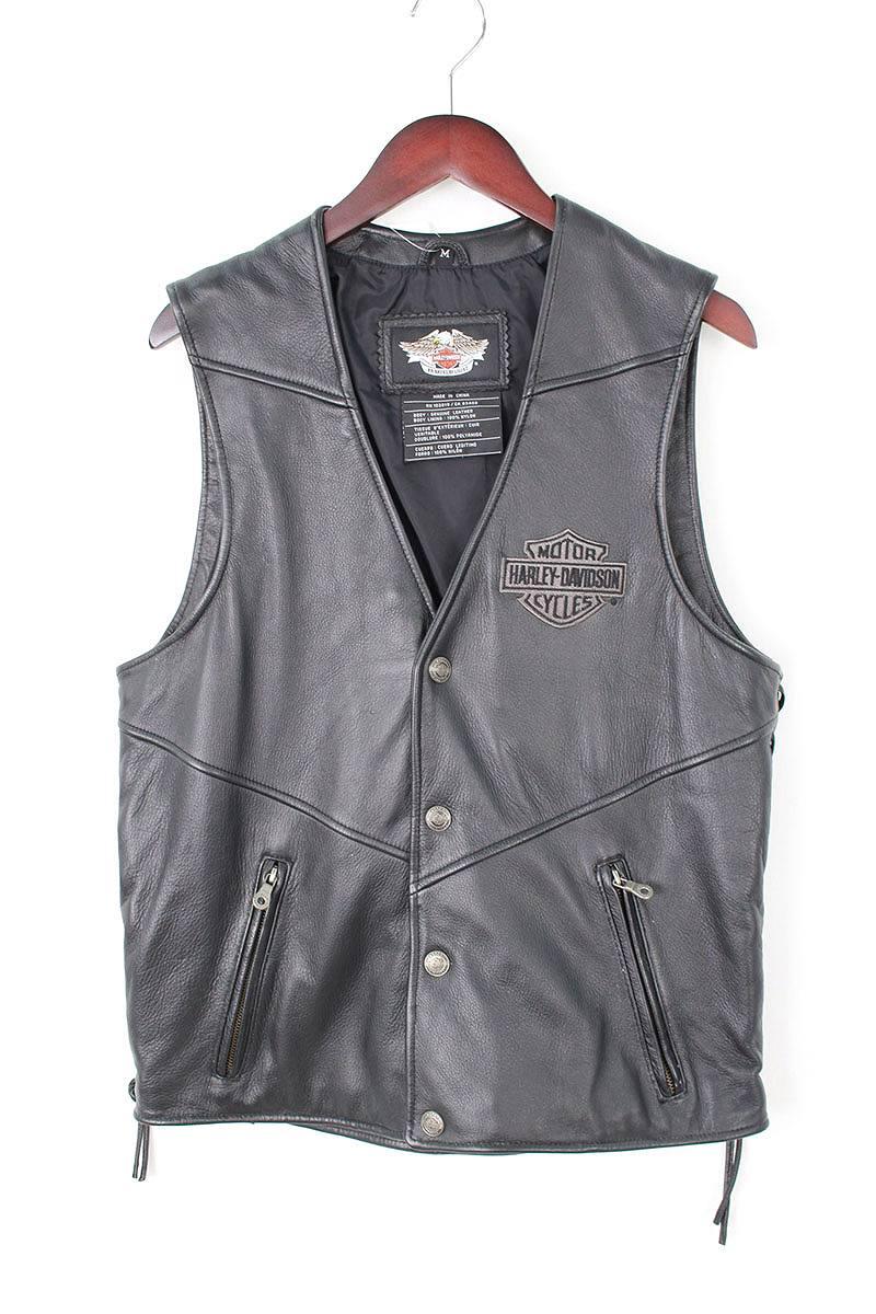 ハーレーダビッドソン/Harley-Davidson バック刺繍デザインレースアップレザーベスト(M/ブラック)【BS99】【メンズ】【107081】【中古】bb15#rinkan*A