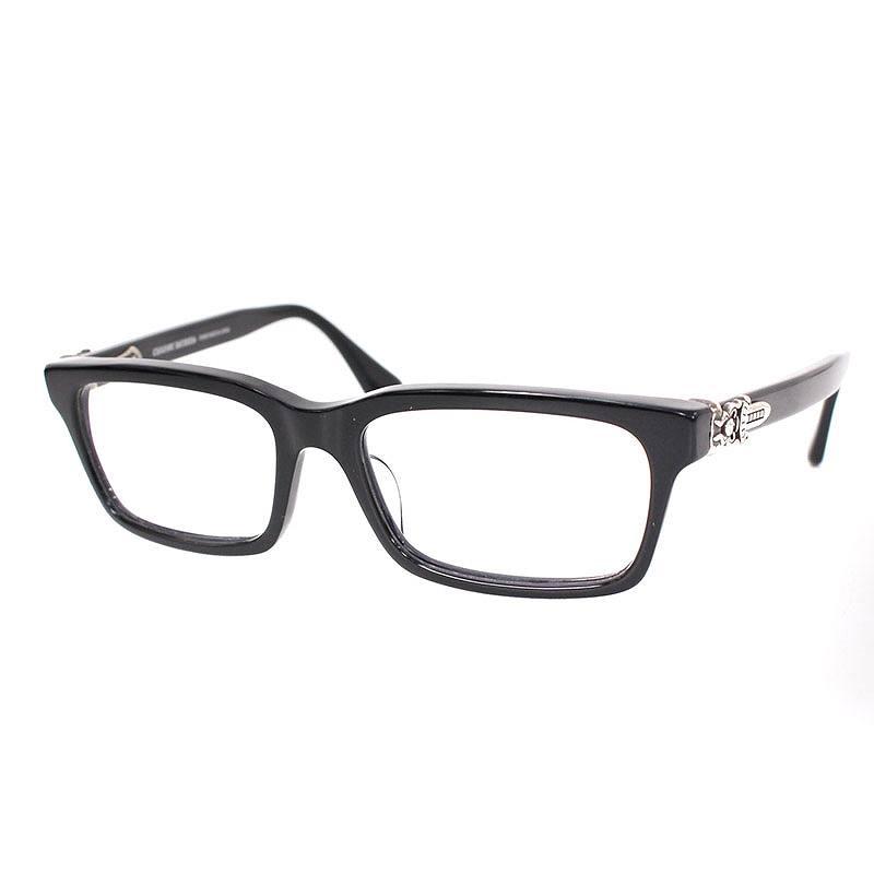クロムハーツ/Chrome Hearts 【RUMPLEFORESKIN-A】ダガーテンプルスクエア型眼鏡(ブラック×シルバー)【SJ02】【小物】【416081】【中古】bb51#rinkan*B