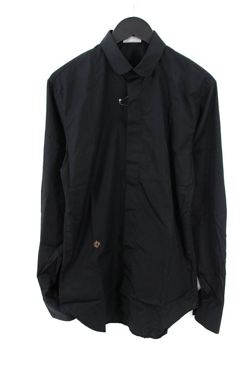 ディオールオム/Dior HOMME 【08AW】ロゴ刺繍ラウンドカラー長袖シャツ(38/ブラック)【BS99】【メンズ】【107081】【中古】bb13#rinkan*B