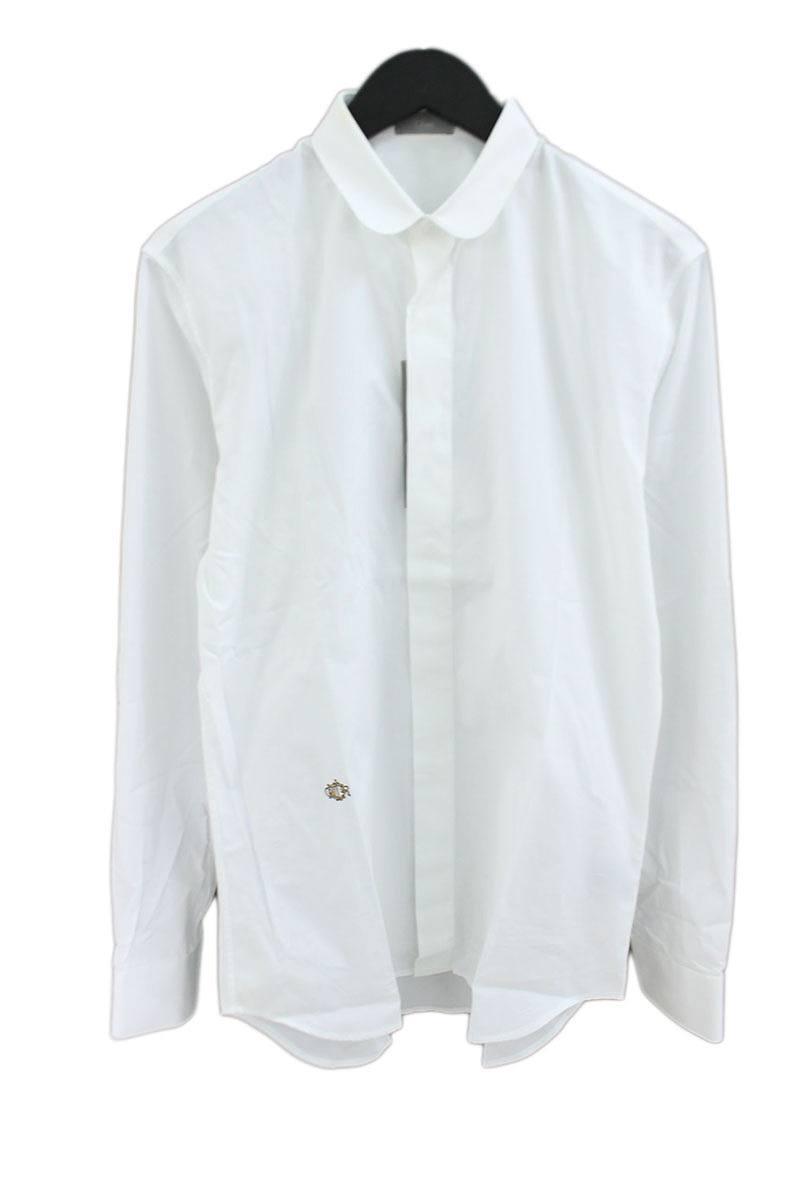 ディオールオム/Dior HOMME 【08AW】ロゴ刺繍ラウンドカラー長袖シャツ(38/ホワイト)【BS99】【メンズ】【107081】【中古】bb13#rinkan*B