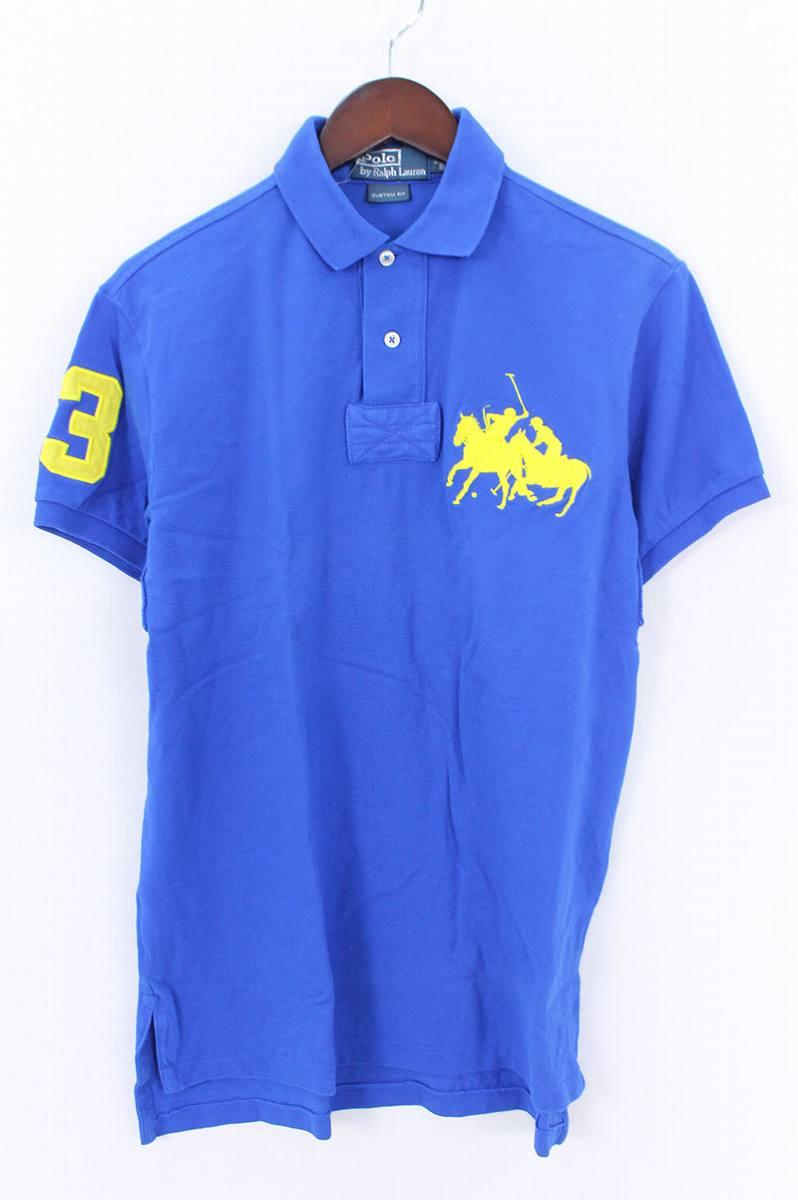 ポロラルフローレン/Polo Ralph Lauren ワッペン刺繍半袖ポロシャツ(S/ブルー×イエロー)【BS99】【メンズ】【107081】【中古】bb13#rinkan*B