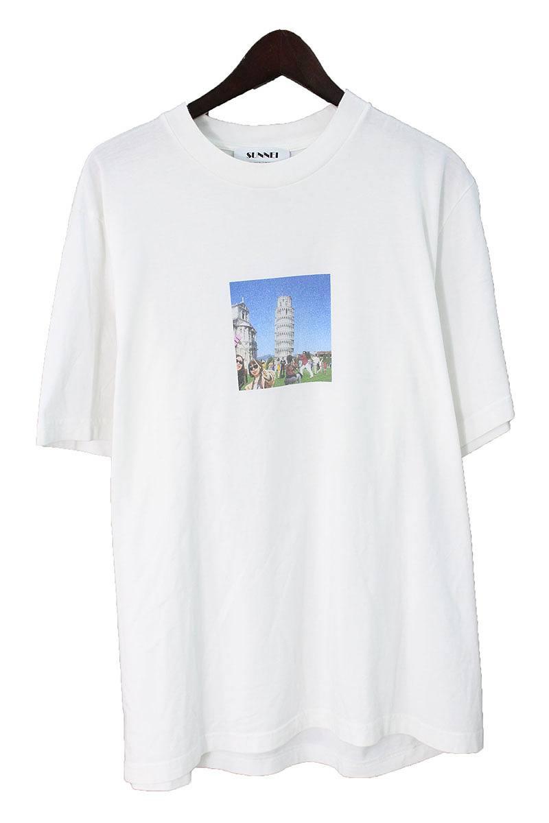 サンネイ/SUNNEI 【Pisa Tower】ピサの斜塔プリントTシャツ(L/ホワイト)【BS99】【メンズ】【107081】【中古】bb127#rinkan*B