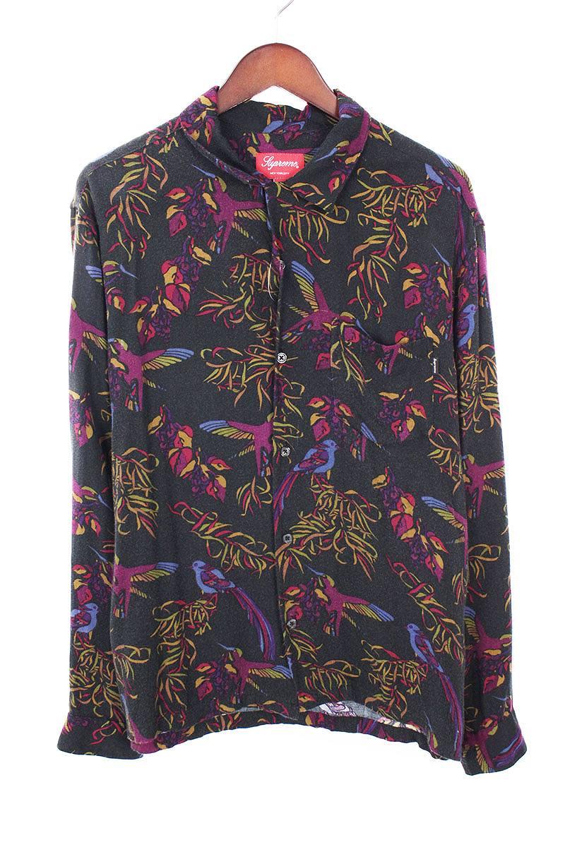シュプリーム/SUPREME 【16AW】【Birds Of Paradise Rayon Shirt】バードプリントレーヨン長袖シャツ(M/ブラック×パープル)【SB01】【メンズ】【126081】【中古】bb229#rinkan*B