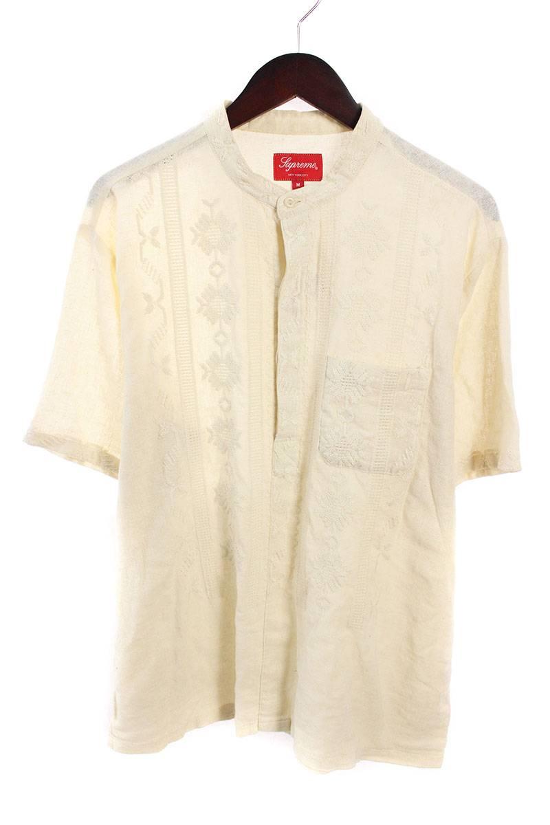 シュプリーム/SUPREME 【17SS】【Embroidered Band Collar S/S shirts】コットンリネンキューバ半袖シャツ(M/ホワイト)【OM10】【メンズ】【326081】【中古】bb229#rinkan*C