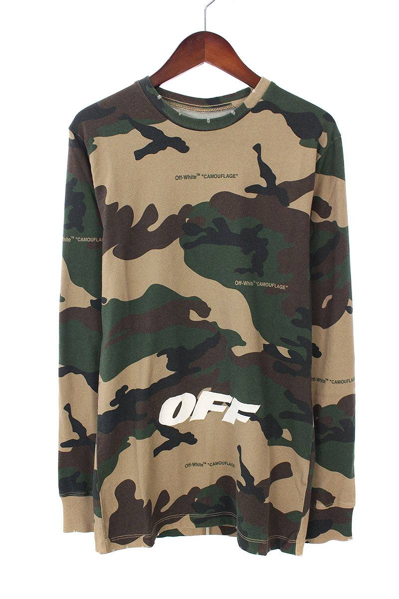 d15865acd44b  18AW   CAMOUFLAGE L S T-SHIRT  camouflage pattern OFF print long sleeves  cut-and-sew