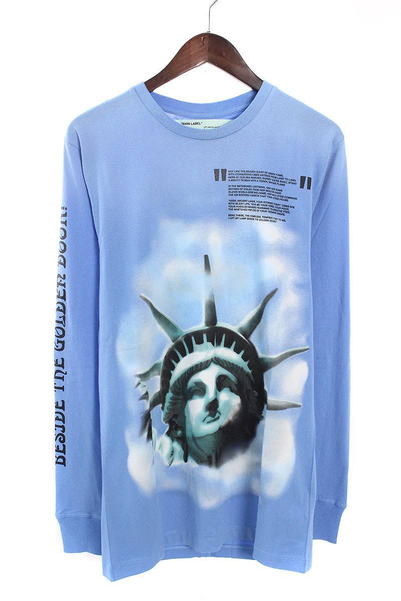 オフホワイト/OFF-WHITE 【18AW】【BLUE LIBERTY L/S T-SHIRT】リバティープリント長袖カットソー(S/ブルー)【OM10】【メンズ】【226081】【新古品】bb20#rinkan*N