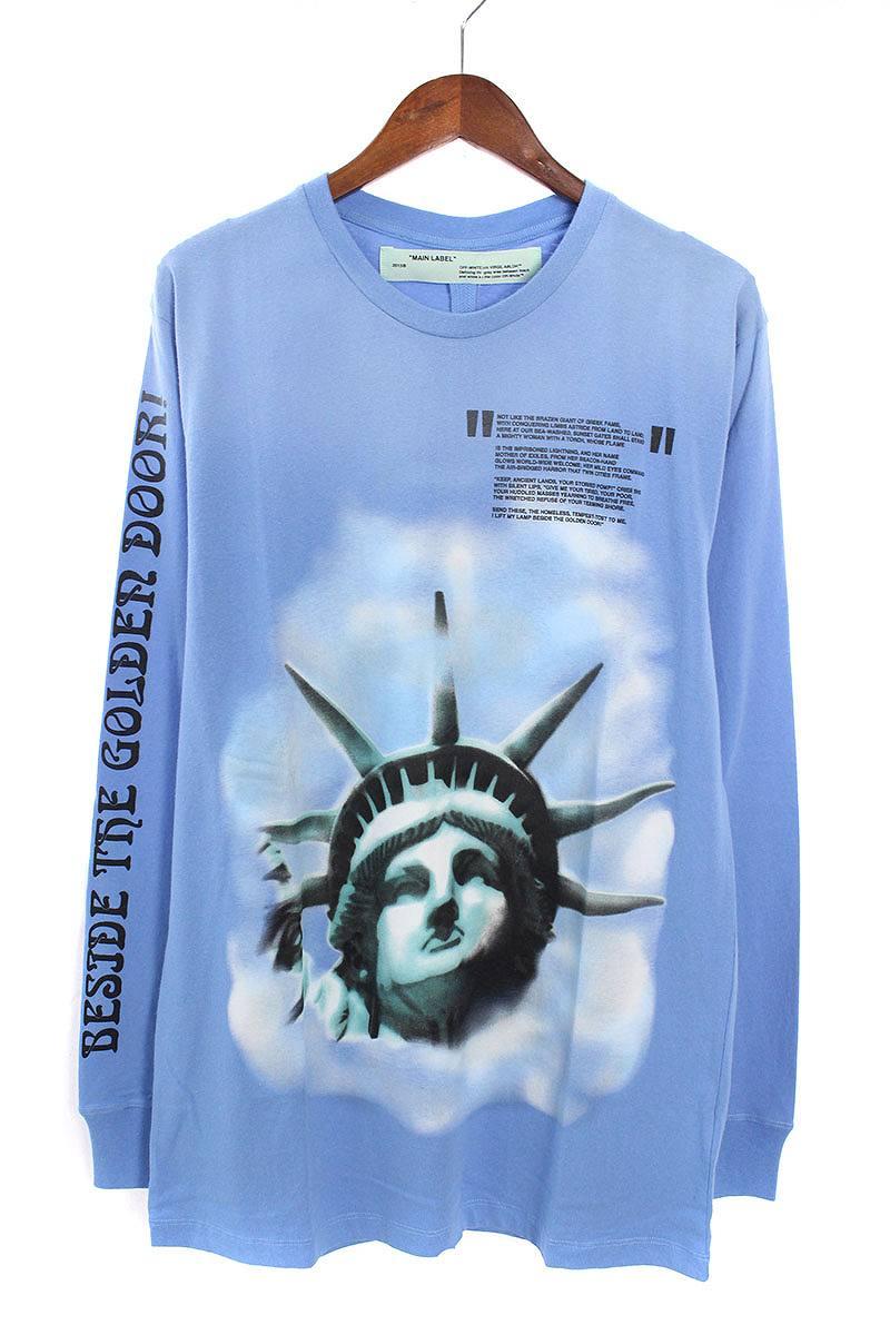 オフホワイト/OFF-WHITE 【18AW】【BLUE LIBERTY L/S T-SHIRT】リバティープリント長袖カットソー(L/ブルー)【OM10】【メンズ】【226081】【新古品】bb20#rinkan*N