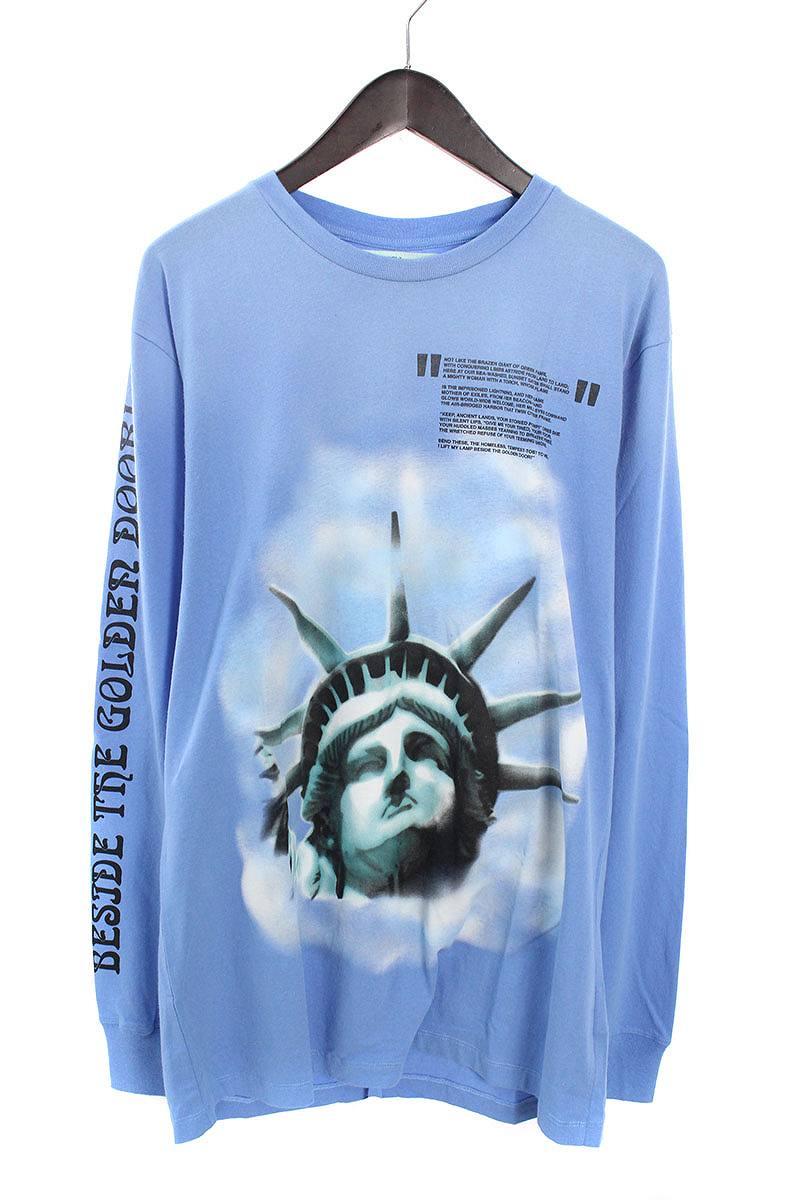 オフホワイト/OFF-WHITE 【18AW】【BLUE LIBERTY L/S T-SHIRT】リバティープリント長袖カットソー(XL/ブルー)【OM10】【メンズ】【226081】【新古品】bb20#rinkan*N
