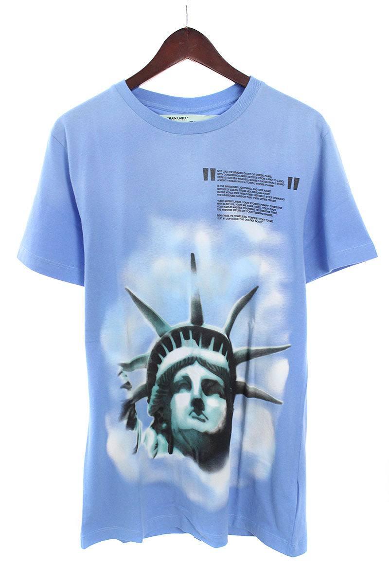オフホワイト/OFF-WHITE 【18AW】【LIGHT BLUE LIBERTY S/S T-SHIRT】リバティープリントTシャツ(S/ブルー)【NO05】【メンズ】【226081】【中古】bb20#rinkan*N-