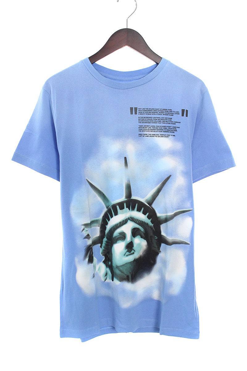 オフホワイト/OFF-WHITE 【18AW】【LIGHT BLUE LIBERTY S/S T-SHIRT】リバティープリントTシャツ(S/ブルー)【OS06】【メンズ】【226081】【新古品】bb20#rinkan*N