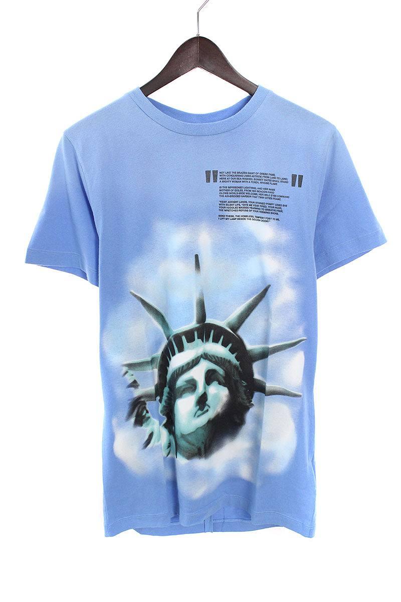 オフホワイト/OFF-WHITE 【18AW】【LIGHT BLUE LIBERTY S/S T-SHIRT】リバティープリントTシャツ(XS/ブルー)【OS06】【メンズ】【226081】【中古】bb20#rinkan*N-