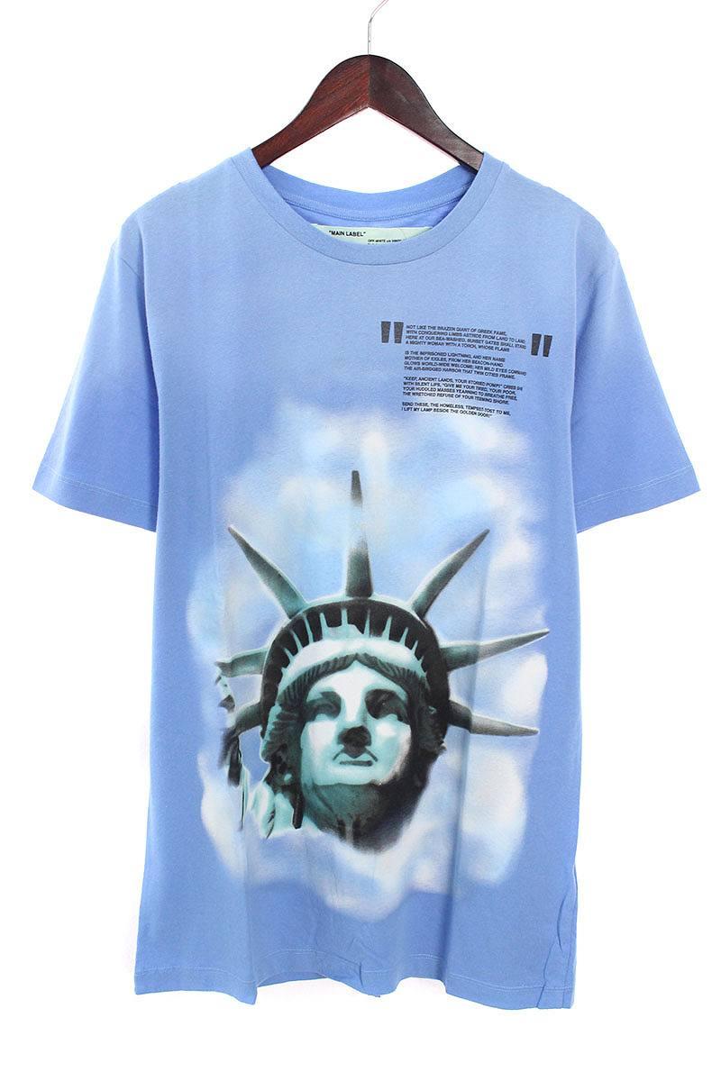 オフホワイト/OFF-WHITE 【18AW】【LIGHT BLUE LIBERTY S/S T-SHIRT】リバティープリントTシャツ(M/ブルー)【OM10】【メンズ】【226081】【新古品】bb20#rinkan*N