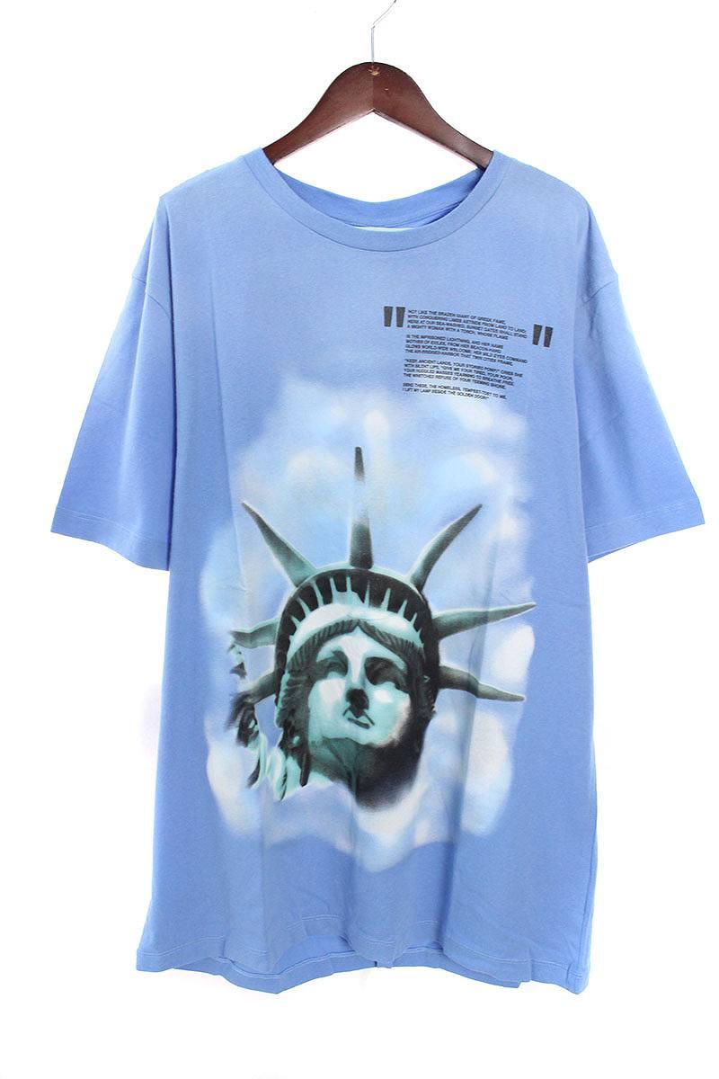 オフホワイト/OFF-WHITE 【18AW】【LIGHT BLUE LIBERTY S/S T-SHIRT】リバティープリントTシャツ(XL/ブルー)【OM10】【メンズ】【226081】【新古品】bb20#rinkan*N
