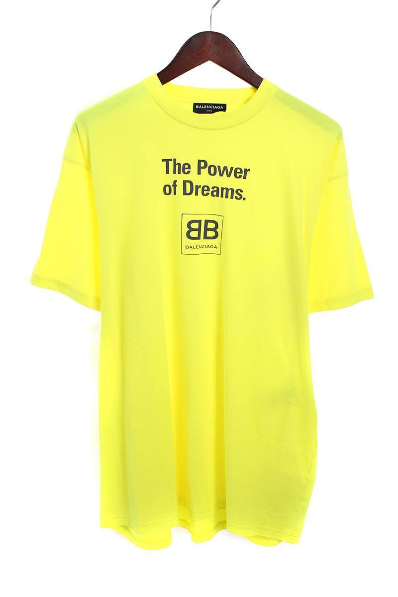 バレンシアガ/BALENCIAGA 【18SS】【THE POWER OF DREAMS 508203 TYK94】ロゴプリントオーバーサイズTシャツ(XS/イエロー)【SB01】【メンズ】【226081】【中古】bb154#rinkan*S