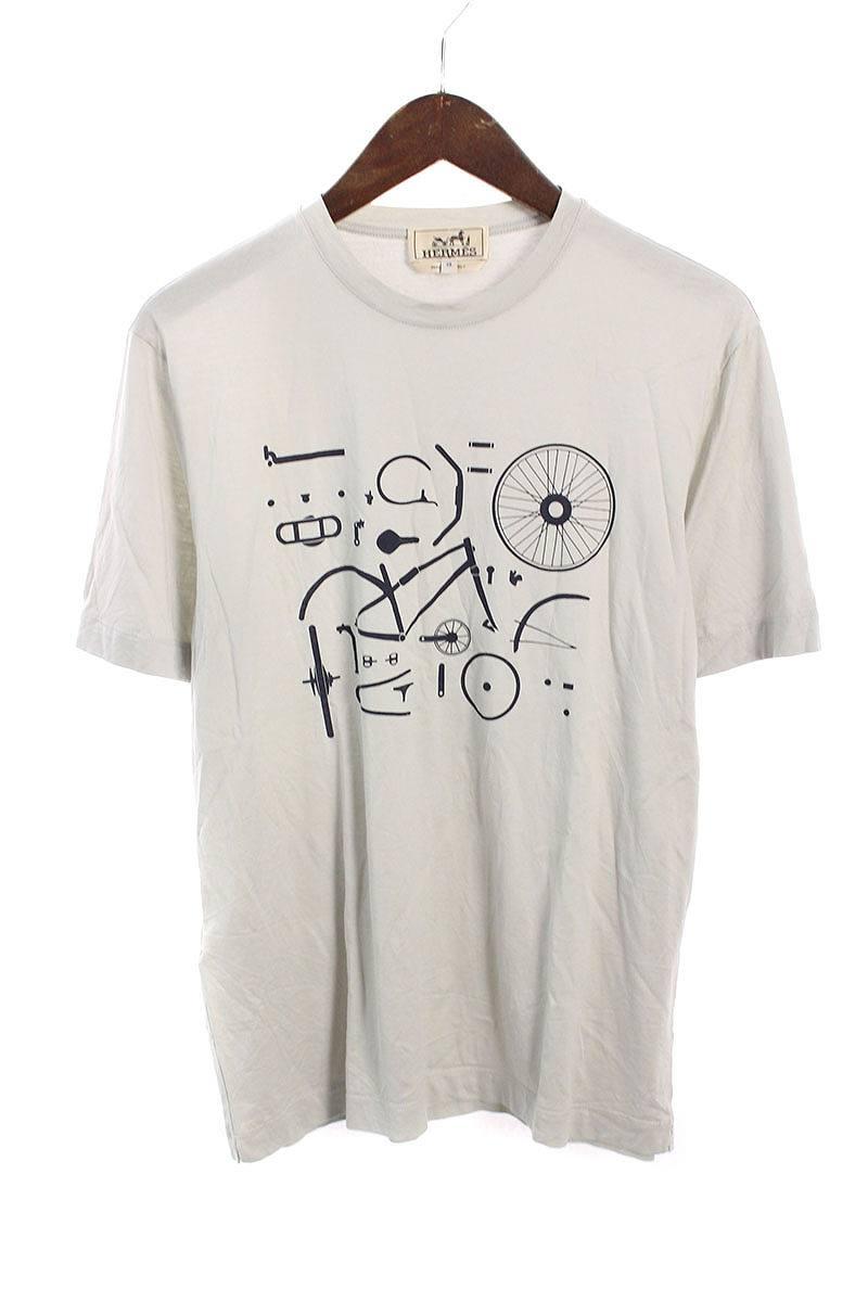 エルメス/HERMES サイクルプリントTシャツ(XS/ライトグレー)【SB01】【メンズ】【226081】【中古】bb154#rinkan*B