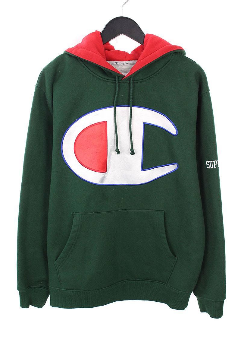 シュプリーム/SUPREME ×チャンピオン/Champion  【17SS】【Satin Logo Hooded Sweatshirt】ロゴワッペンフーデッドパーカー(M/グリーン)【SB01】【メンズ】【226081】【中古】bb177#rinkan*B