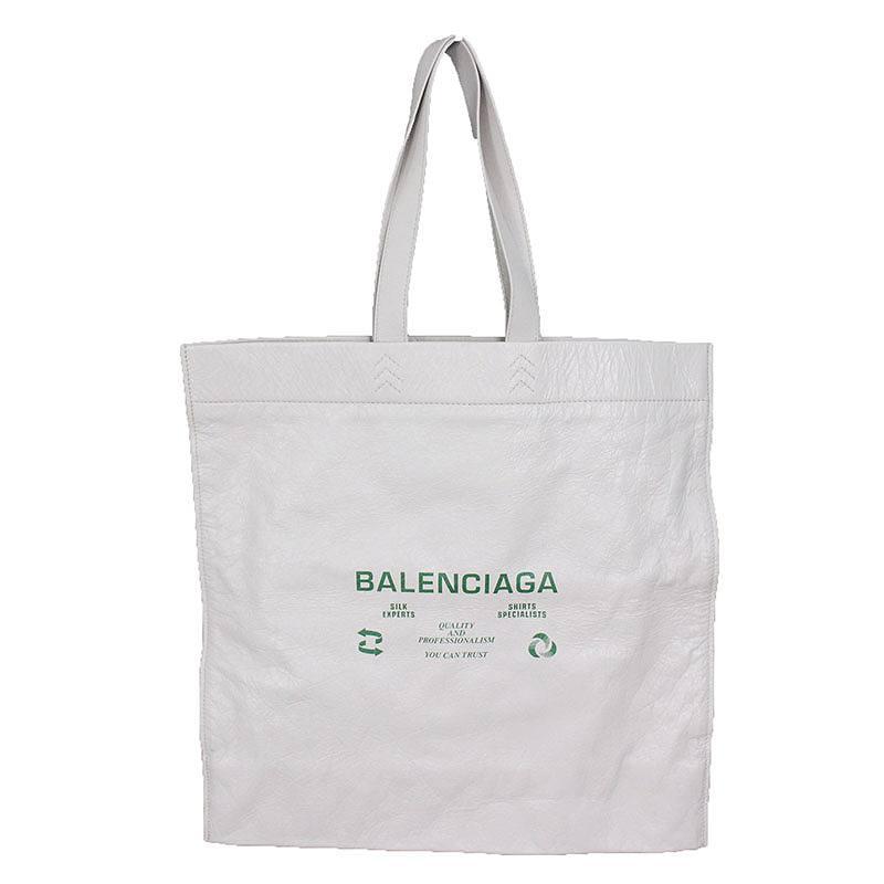 バレンシアガ/BALENCIAGA 【18SS】【SUPERMARKET SHOPPER L】ロゴプリントショッパートートバッグ(L/オフホワイト)【BS55】【小物】【226081】【中古】bb154#rinkan*A