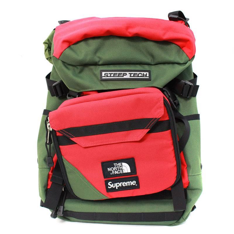 シュプリーム/SUPREME ×ノースフェイス/THE NORTH FACE 【16SS】【Steep Tech Backpack】スティープテックバックパック(グリーン×レッド)【OM10】【小物】【426081】【中古】bb205#rinkan*B
