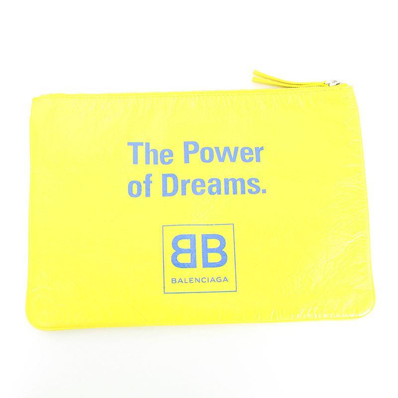 バレンシアガ/BALENCIAGA 【18SS】【The Power of Dreams】ザパワーオブドリームプリントクラッチバッグ(M/イエロー)【SB01】【小物】【226081】【中古】bb154#rinkan*A