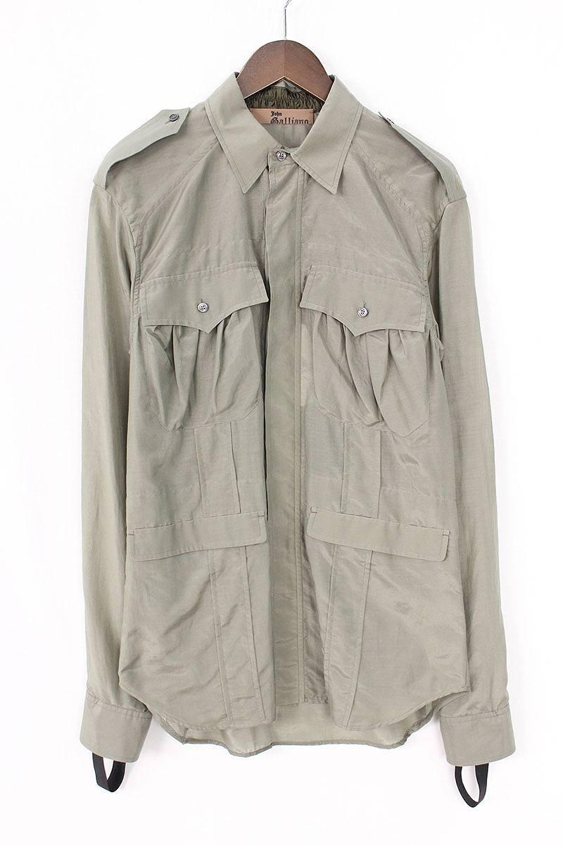 ジョンガリアーノ/JOHNGALLIANO シルク混バックプリントエポーレットシャツ(46/グリーン)【BS99】【メンズ】【107081】【中古】bb14#rinkan*S