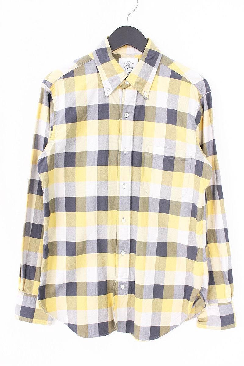 ブラックフリースバイブルックスブラザーズ/BLACK FLEECE BY Brooks Brothers チェック柄ボタンダウンチェックシャツ(BB2/イエロー×グレー)【BS99】【メンズ】【107081】【中古】bb15#rinkan*B