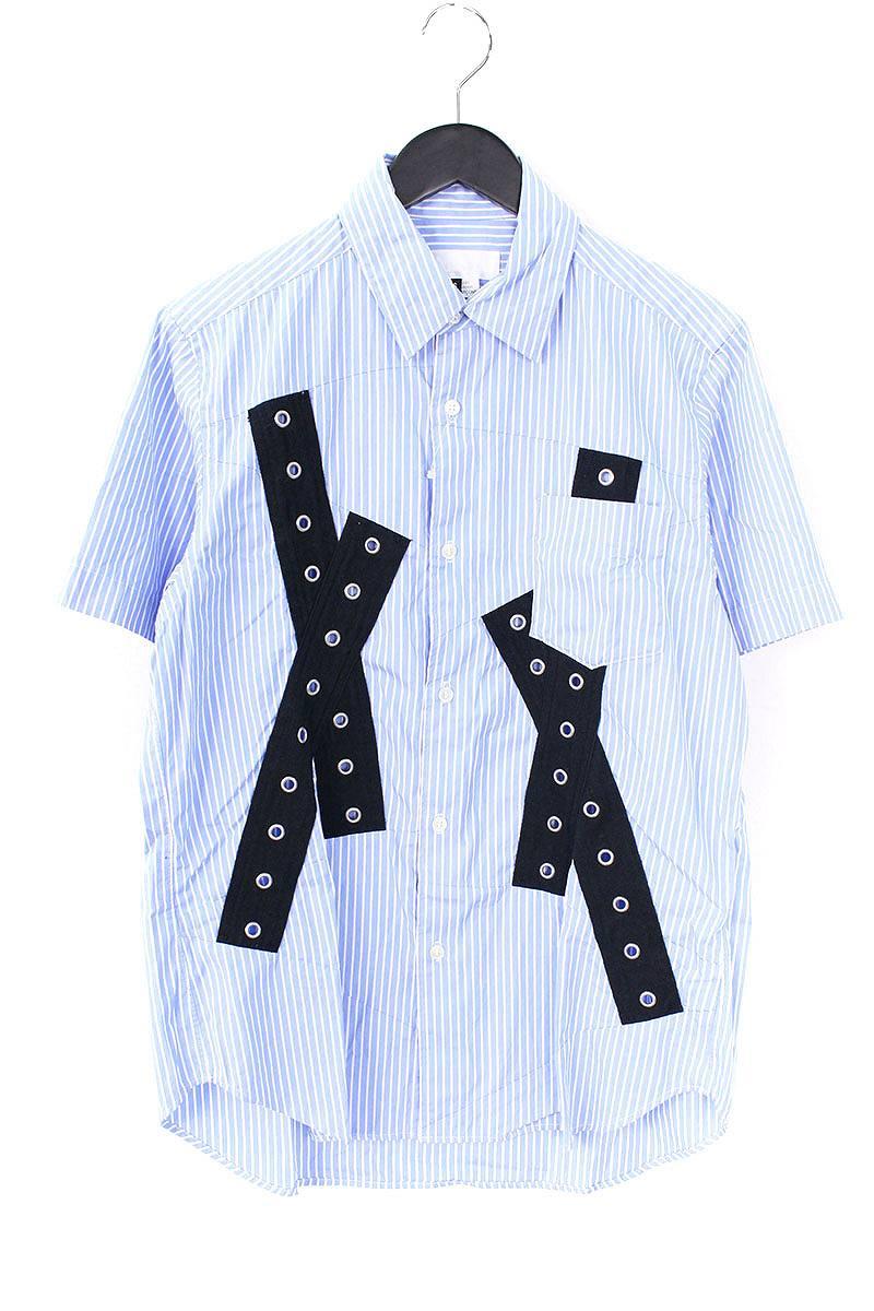 ガンリュウ/ganryu 【16SS】【EQ-B022】AD2015パッチデザイン半袖シャツ(S/ブルー×ホワイト)【BS99】【メンズ】【107081】【中古】bb212#rinkan*B