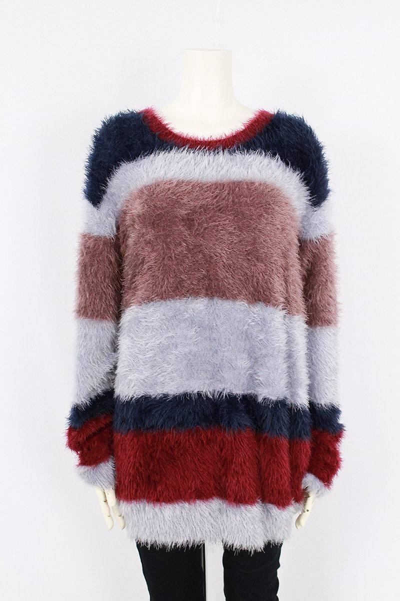 グラム/glamb 【17AW】【 GB17AT / KNT12 Kaylee border knit】ケイリーボーダーニット(1/グレー×ネイビー×ボルドー)【BS99】【メンズ】【107081】【中古】bb14#rinkan*S