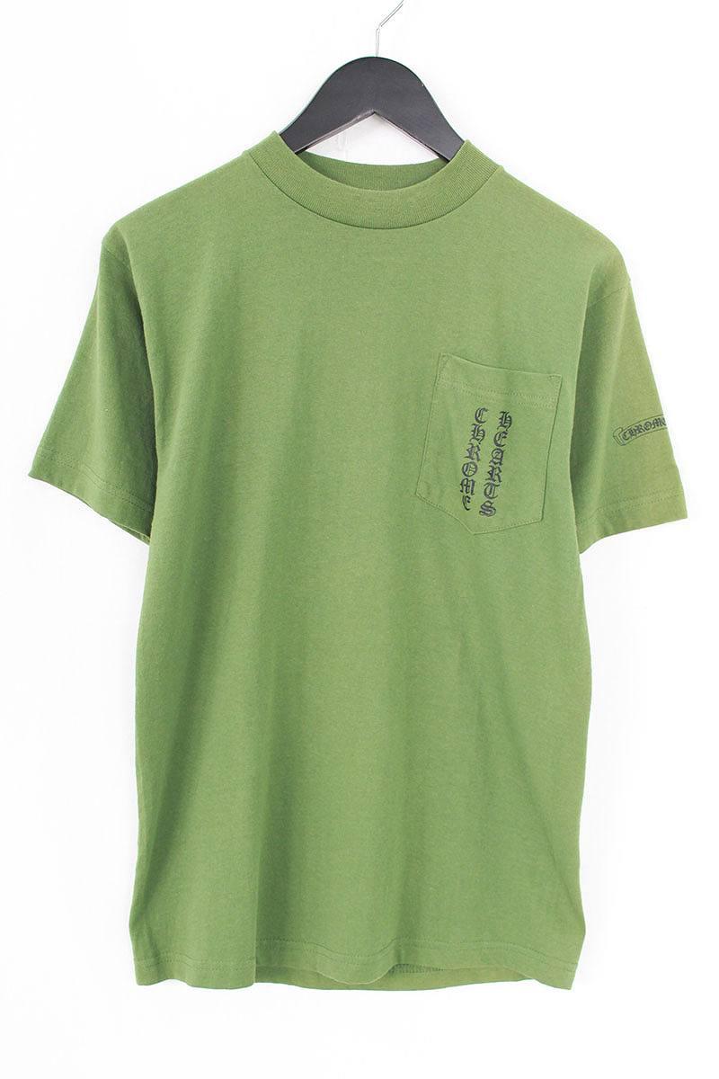 クロムハーツ/Chrome Hearts ロゴラベルプリントポケットTシャツ(S/グリーン)【BS99】【メンズ】【107081】【中古】bb30#rinkan*C
