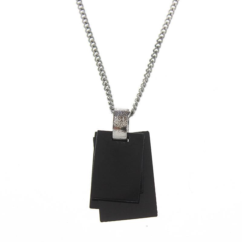 ディオールオム/Dior HOMME スクエアモチーフネックレス(ブラック×シルバー/4.66g)【SB01】【小物】【426081】【中古】bb13#rinkan*B