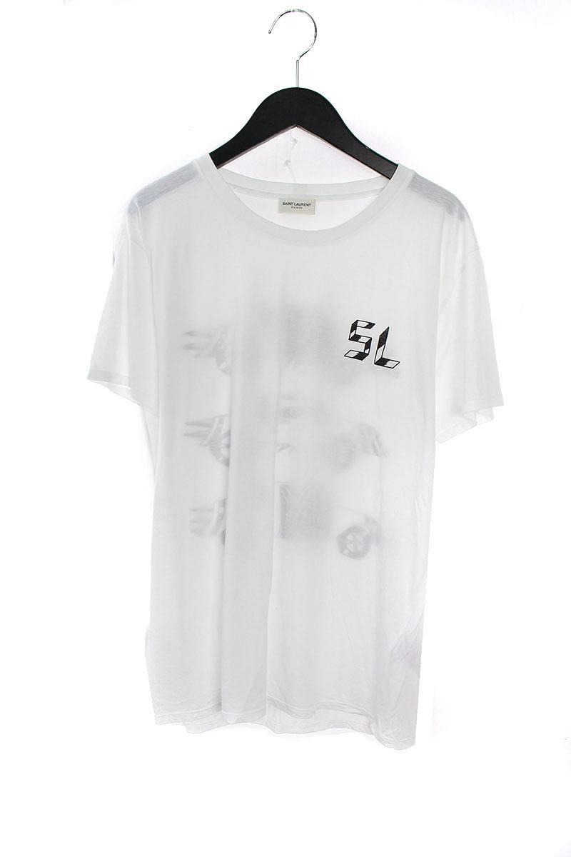 サンローランパリ/SAINT LAURENT PARIS 【331103 Y2BC1】プリントデザインクルーネックTシャツ(S/ホワイト×ブラック)【NO05】【メンズ】【726081】【中古】【準新入荷】bb82#rinkan*A