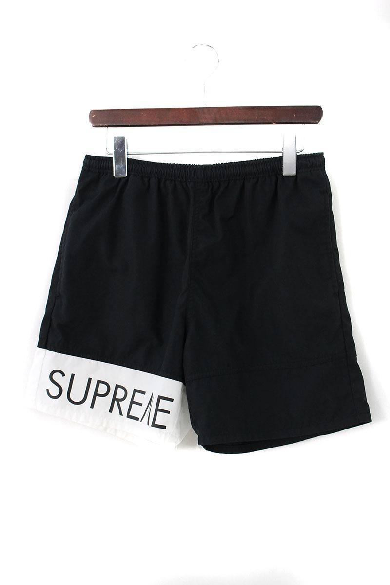 シュプリーム/SUPREME 【16SS】【Banner Water Short】バナーウォーターショーツ(S/ブラック×ホワイト)【OM10】【メンズ】【726081】【中古】【準新入荷】bb143#rinkan*A