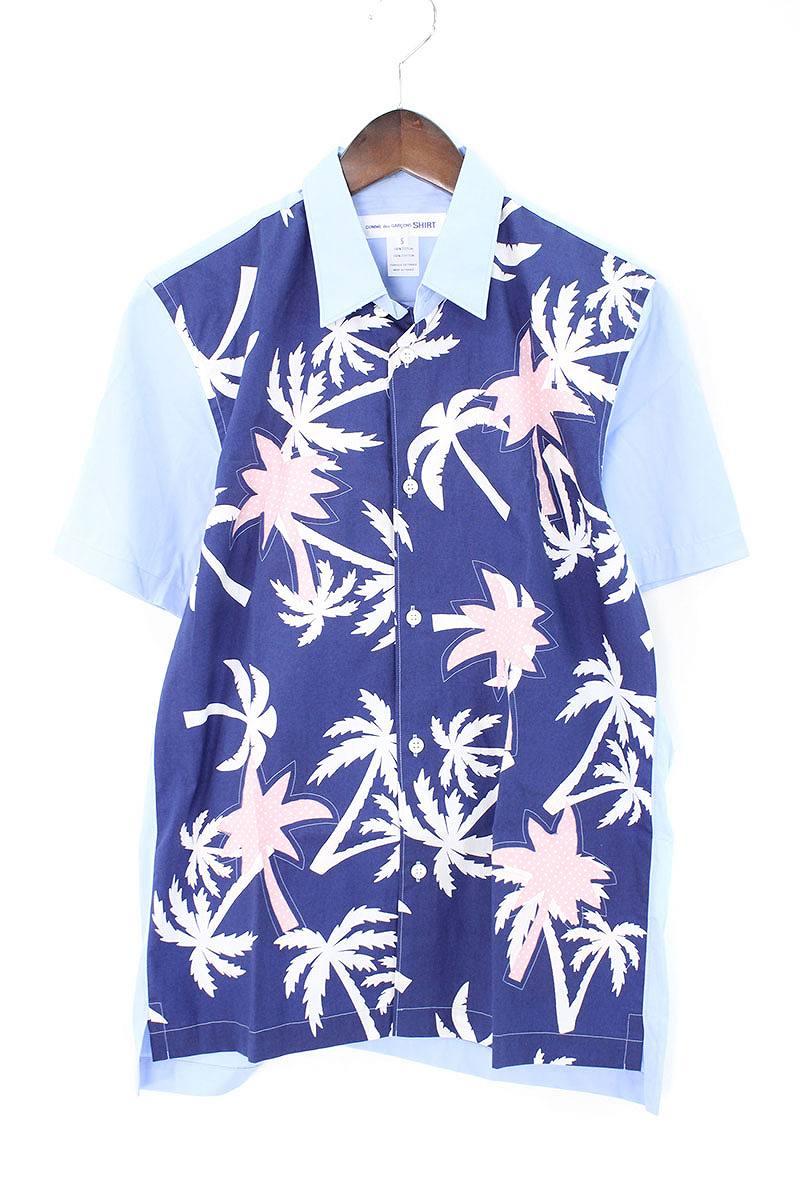 コムデギャルソンシャツ/COMME des GARCONS SHIRT 【16SS】【S24064】フロント切替半袖シャツ(S/ブルー調)【BS99】【メンズ】【107081】【中古】bb82#rinkan*A