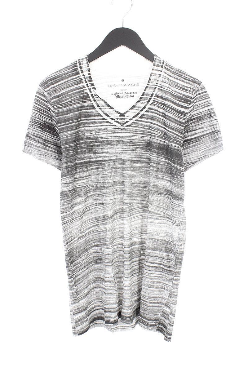 クリスヴァンアッシュ/KRISVANASSCHE ミゼリコルディア VネックTシャツ(M/ホワイト×ブラック)【BS99】【メンズ】【107081】【中古】bb51#rinkan*B