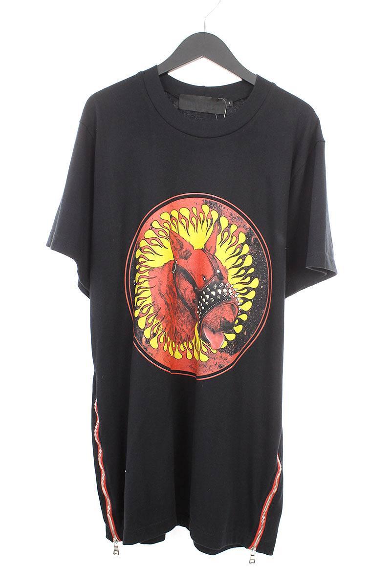 カビアーレ/CAVIALE ドッグプリントサイドジップTシャツ(L/ブラック)【BS99】【メンズ】【107081】【中古】bb33#rinkan*A