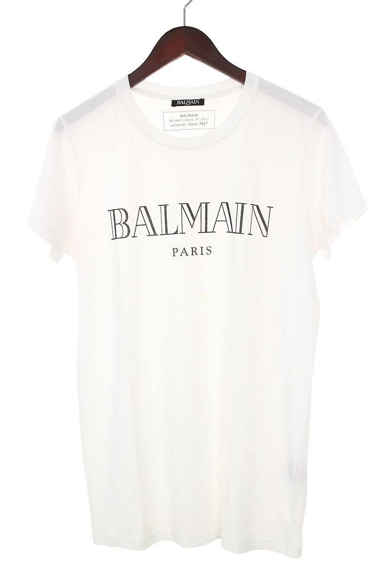 バルマン/BALMAIN ブランドロゴプリントTシャツ(S/ホワイト×ブラック)【BS99】【メンズ】【107081】【中古】bb82#rinkan*B