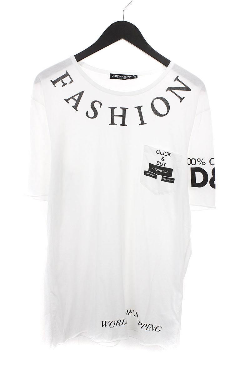 ドルチェ&ガッバーナ/DOLCE & GABBANA 英字プリントポケットTシャツ(48/ホワイト)【BS99】【メンズ】【107081】【中古】bb33#rinkan*A