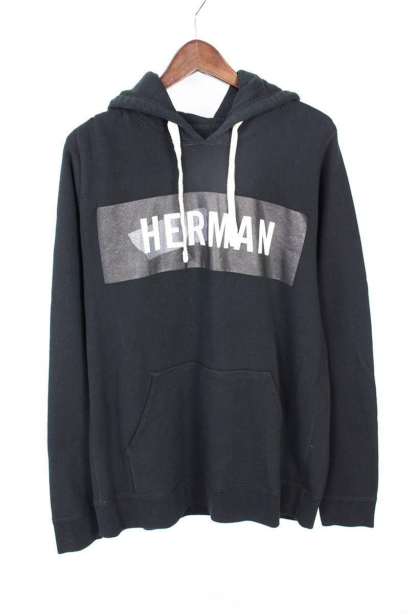 ハーマンオム/HERMAN HOMME ボックスロゴプリントプルオーバーパーカー(L/ブラック)【BS99】【メンズ】【407081】【中古】bb51#rinkan*B