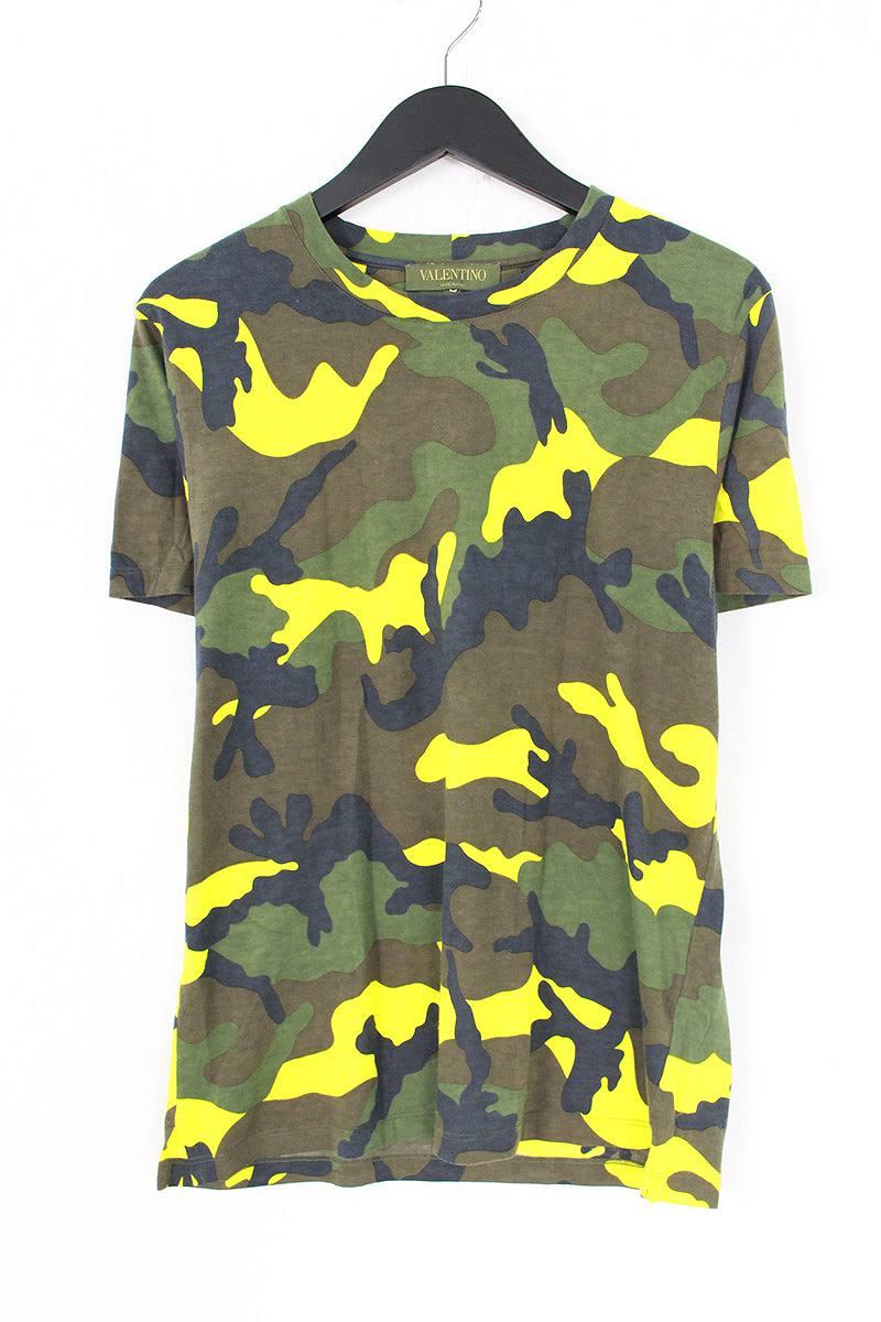 ヴァレンティノ/VALENTINO バックロックスタッズカモフラTシャツ(S/グリーン×イエロー)【SB01】【メンズ】【307081】【中古】bb14#rinkan*B