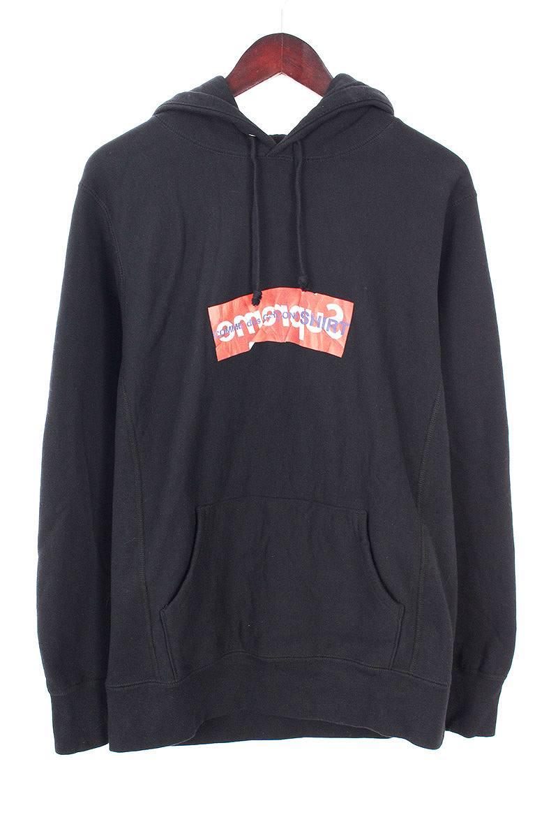 シュプリーム/SUPREME ×コムデギャルソンシャツ/COMME des GARCONS SHIRT 【17SS】【Box Logo Hooded Sweatshirt】ペーパーアートボックスロゴプルオーバーパーカー(M/ブラック)【FK04】【メンズ】【017081】【中古】bb14#rinkan*B