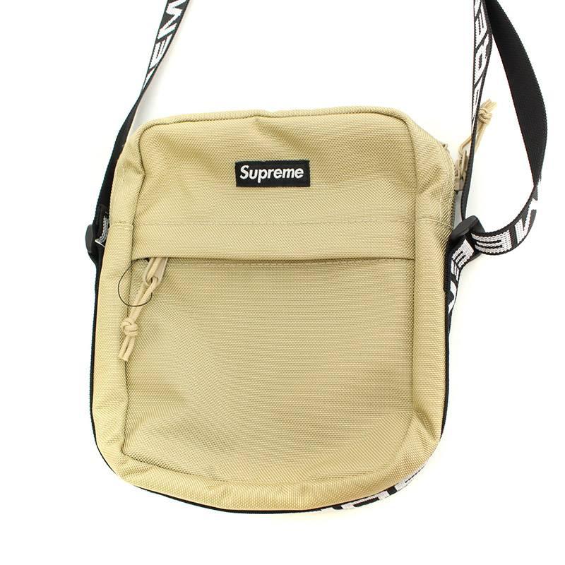 シュプリーム/SUPREME 【18SS】【Shoulder Bag】ボックスロゴナイロンショルダーバッグ(ベージュ)【SB01】【小物】【127081】【中古】bb131#rinkan*S