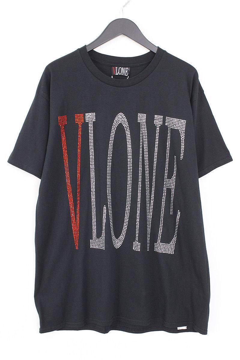 ヴィーロン/VLONE 【18SS】【RHINE STONE logo TEE】ラインストーンロゴTシャツ(L/ブラック×レッド×クリア)【NO05】【メンズ】【527081】【中古】bb81#rinkan*S