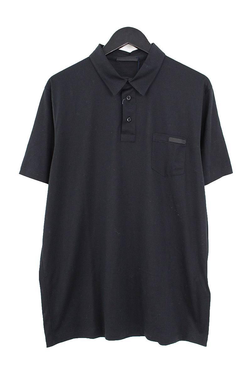 プラダ/PRADA 【17AW】【UJN007 R131】胸ポケットコットン半袖ポロシャツ(XL/ブラック)【BS99】【メンズ】【108081】【中古】bb202#rinkan*S