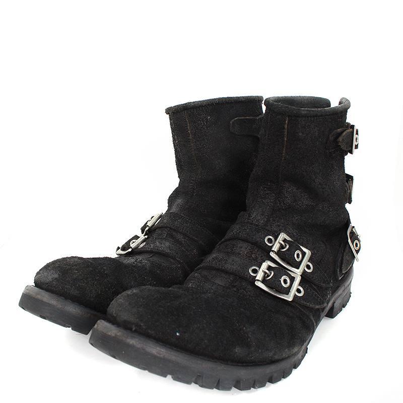 ブラックミーンズ/blackmeans 【Swead Short Boots】スウェードダブルストラップブーツ(28.5cm/ブラック)【BS99】【メンズ】【小物】【108081】【中古】【P】bb127#rinkan*B